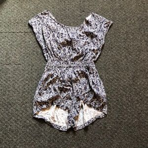 Navy blue and white paisley romper